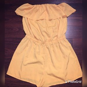Forever 21 yellow romper with ruffle sleeves